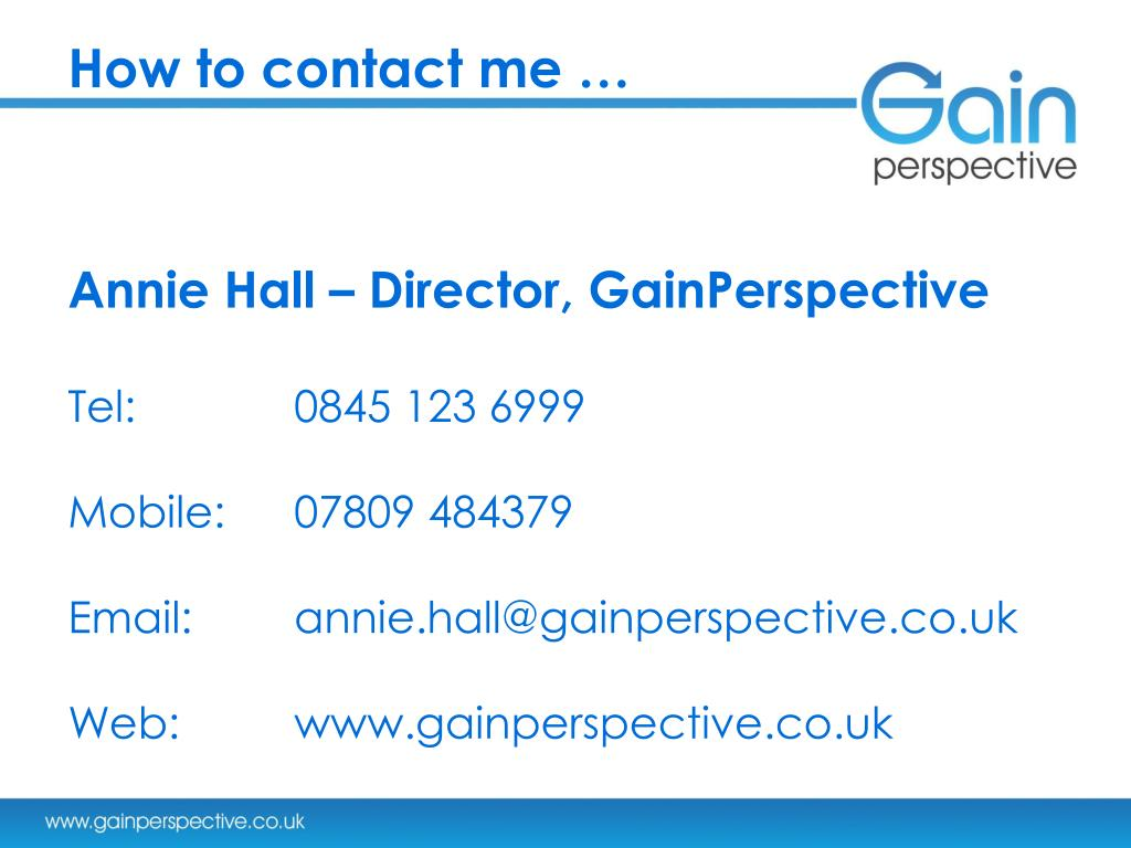 How to contact me …