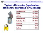 typical efficiencies application efficiency expressed in solids
