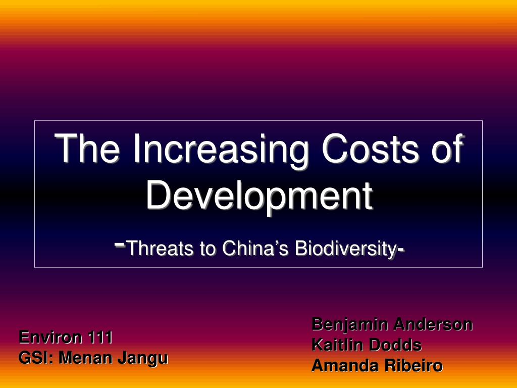 the increasing costs of development threats to china s biodiversity l.