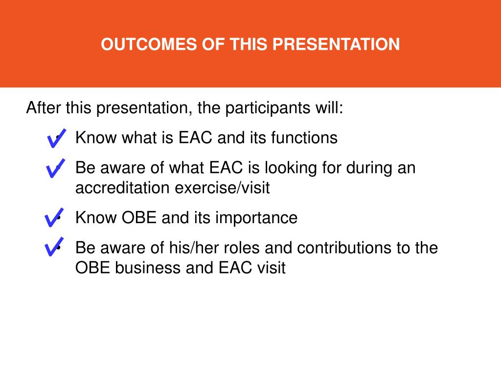 Ppt outcome based approach to engineering education and eac outcomes of this presentation toneelgroepblik Image collections