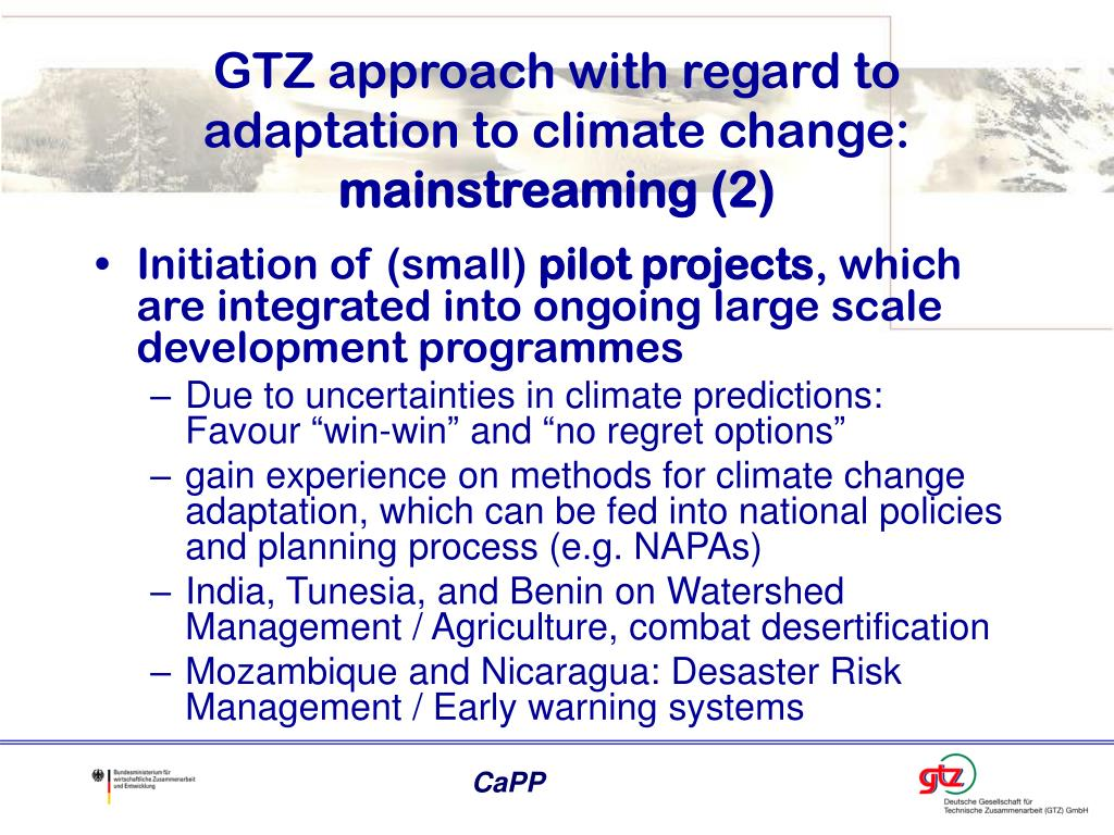 GTZ approach with regard to adaptation to climate change: