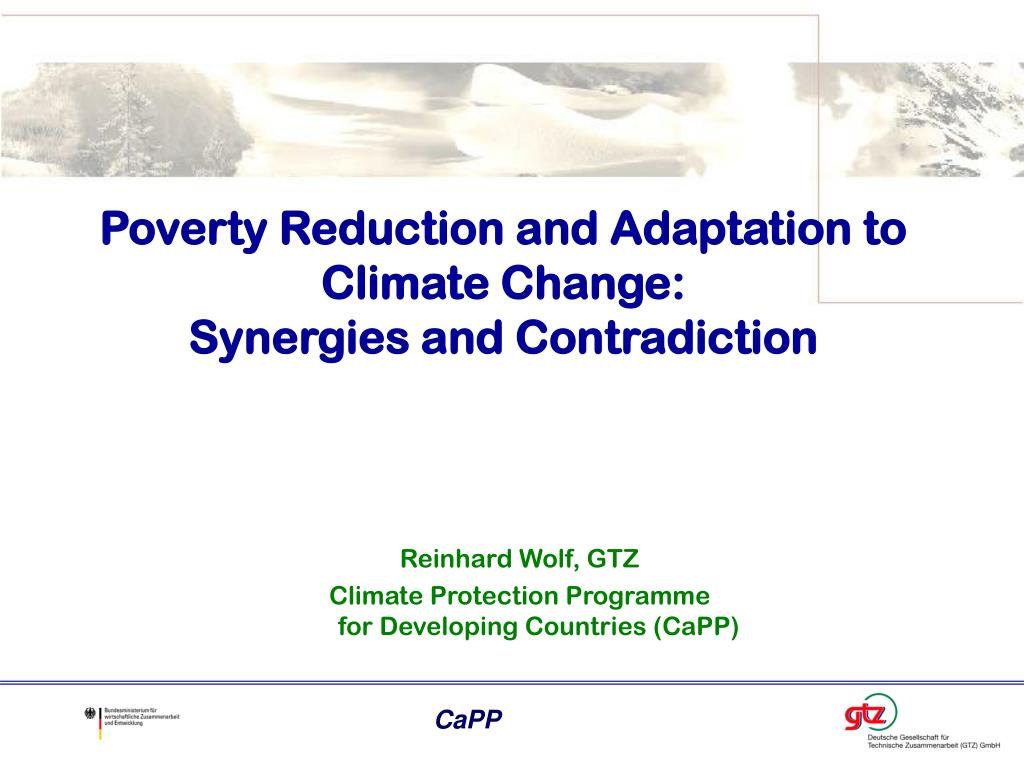 Poverty Reduction and Adaptation to Climate Change: