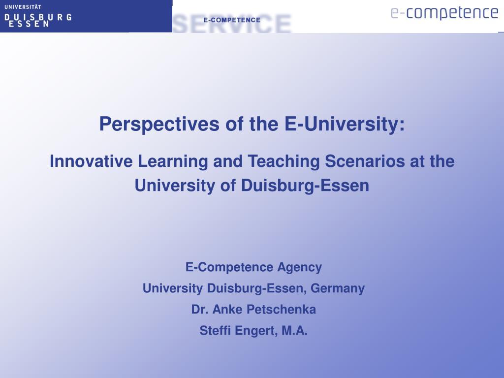 e competence agency university duisburg essen germany dr anke petschenka steffi engert m a l.