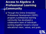 access to algebra a professional learning community