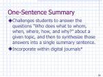one sentence summary