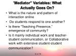 mediator variables what actually goes on