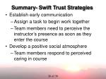 summary swift trust strategies
