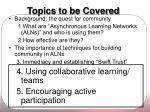 topics to be covered27