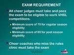 exam requirement