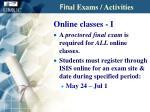 fin al exams activities