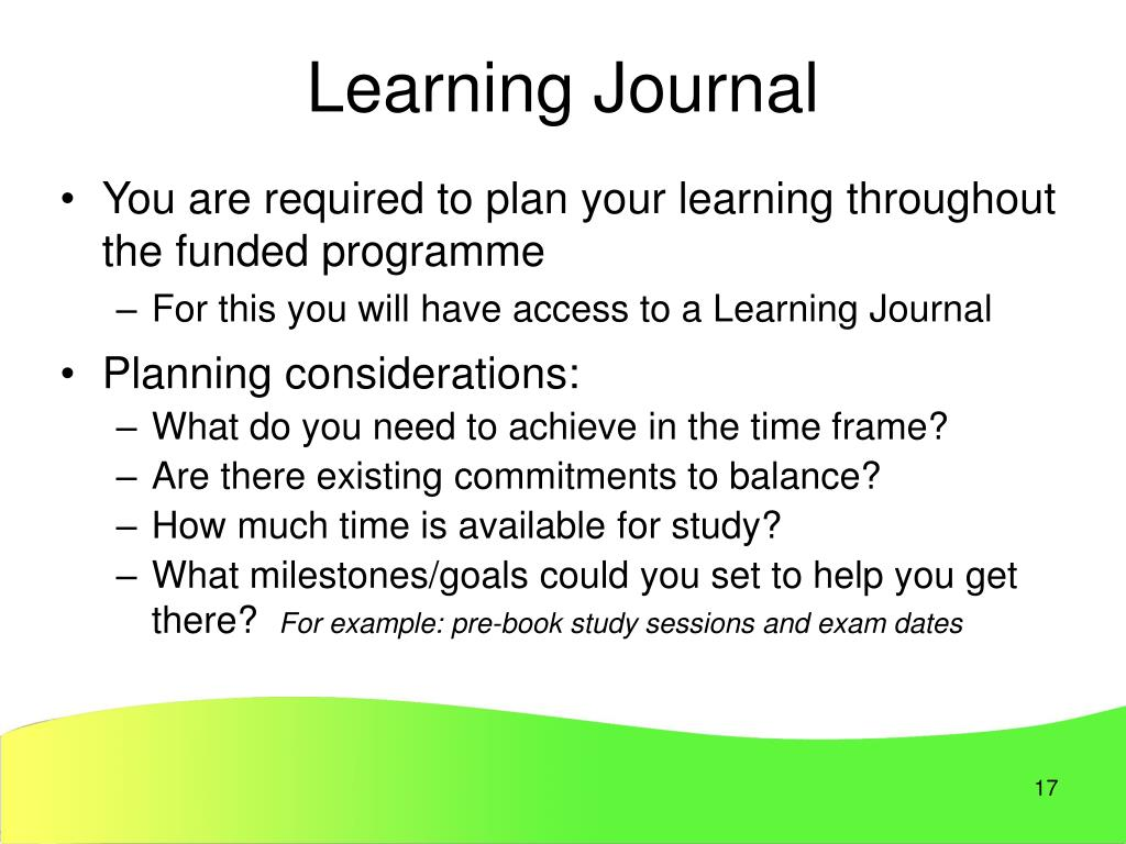learning journal example