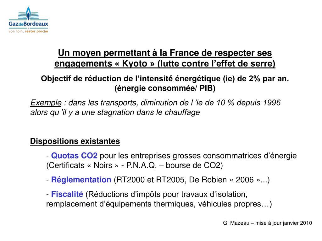Un moyen permettant à la France de respecter ses engagements «Kyoto» (lutte contre l'effet de serre)