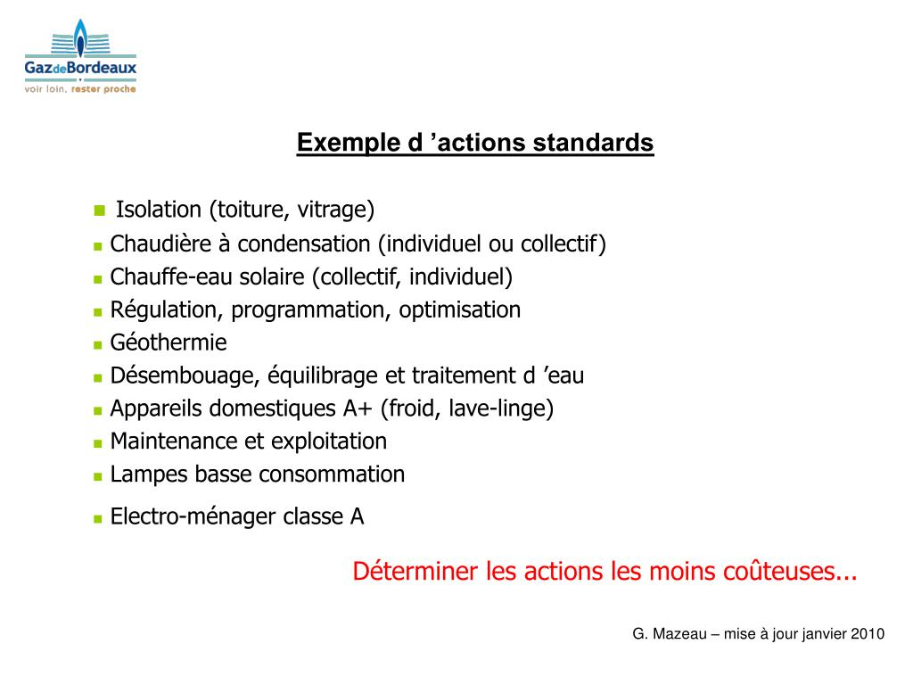 Exemple d'actions standards