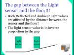 the gap between the light sensor and the floor