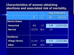 characteristics of women obtaining abortions and associated risk of mortality12