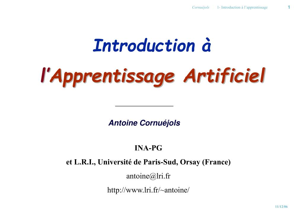 introduction l apprentissage artificiel l.