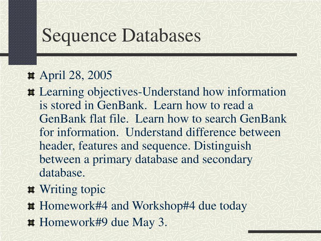 sequence databases l.