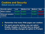 cookies and security default security settings
