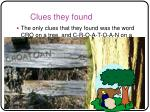 clues they found
