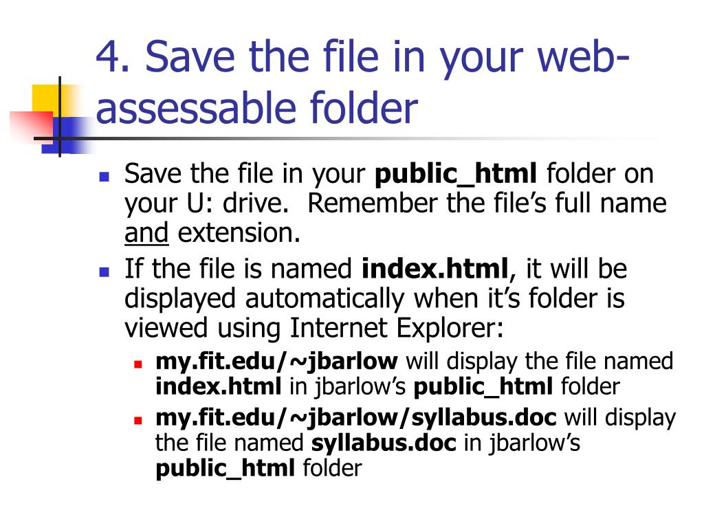 4. Save the file in your web-assessable folder