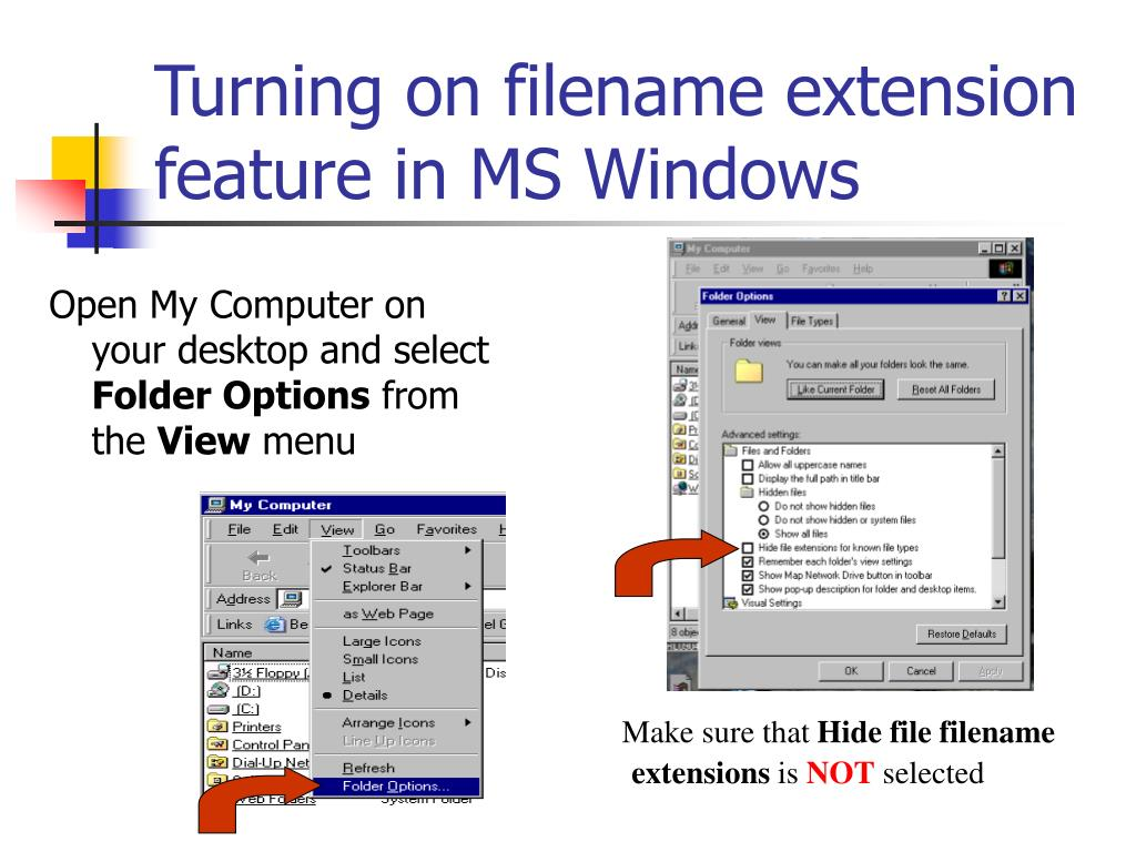 Turning on filename extension feature in MS Windows