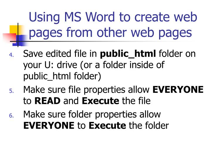 Using ms word to create web pages from other web pages3