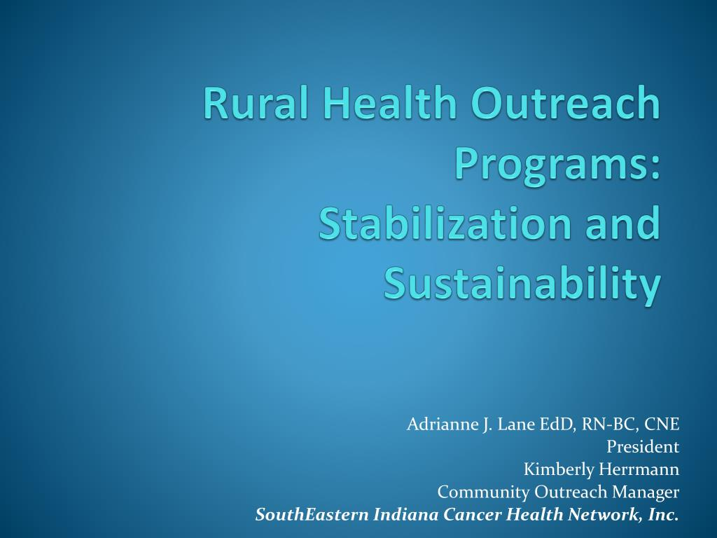 rural health outreach programs stabilization and sustainability l.