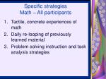 specific strategies math all participants
