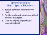 specific strategies math special educators