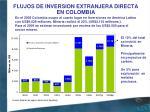 flujos de inversion extranjera directa en colombia