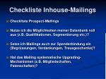 checkliste inhouse mailings