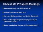 checkliste prospect mailings