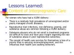 lessons learned content of interpregnancy care