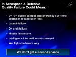 in aerospace defense quality failure could mean