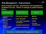 risk management subcontracts