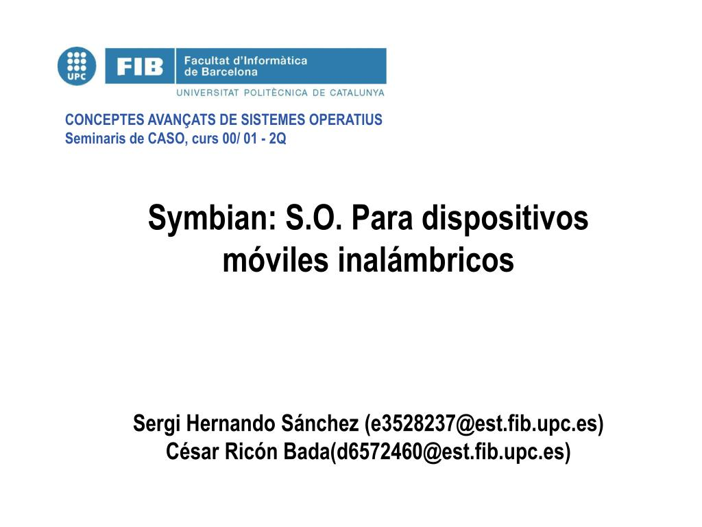 symbian s o para dispositivos m viles inal mbricos l.