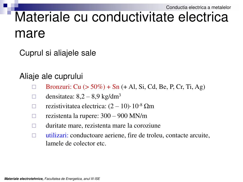 Materiale cu conductivitate electrica mare