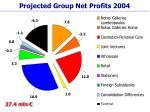 projected group net profits 2004