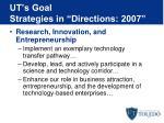 ut s goal strategies in directions 2007