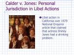 calder v jones personal jurisdiction in libel actions