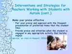 interventions and strategies for teachers working with students with autism cont25