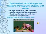 interventions and strategies for teachers working with students with autism