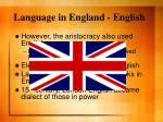 language in england english
