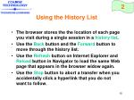 using the history list