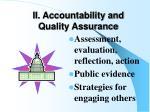 ii accountability and quality assurance