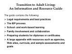 transition to adult living an information and resource guide10