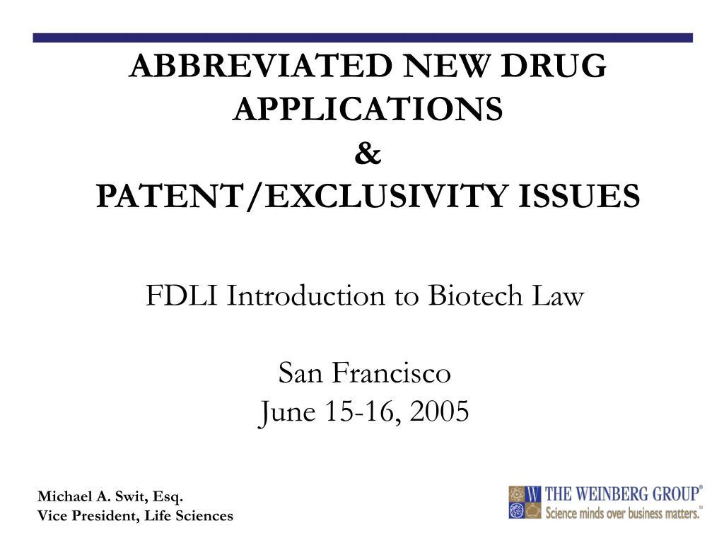 fdli introduction to biotech law san francisco june 15 16 2005 l.