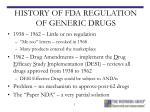 history of fda regulation of generic drugs