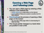 opening a web page and following links