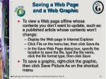 saving a web page and a web graphic